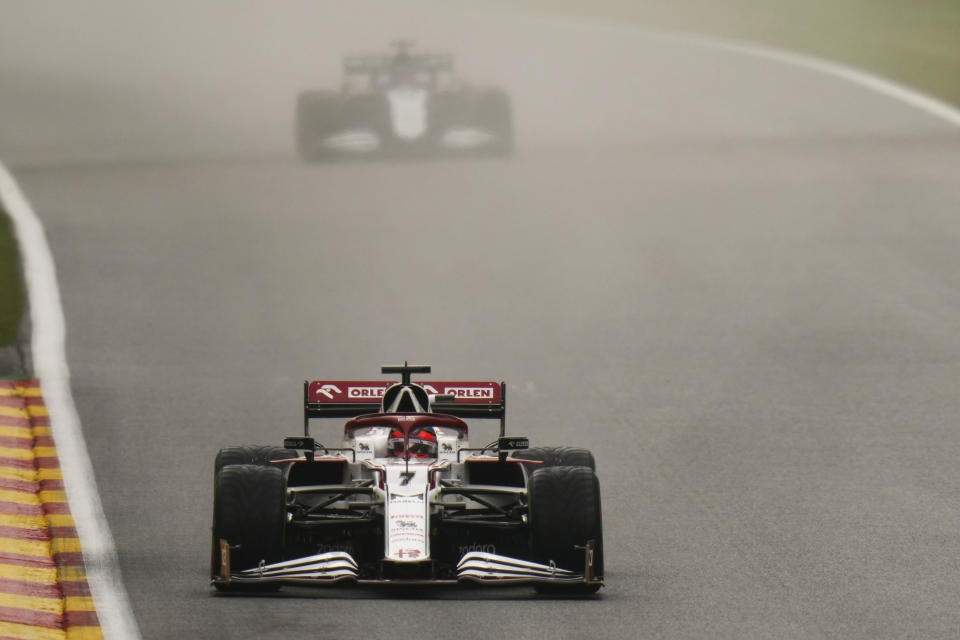 Alfa Romeo driver Kimi Raikkonen of Finland steers his car during the third practice session ahead of the Formula One Grand Prix at the Spa-Francorchamps racetrack in Spa, Belgium, Saturday, Aug. 28, 2021. The Belgian Formula One Grand Prix will take place on Sunday. (AP Photo/Francisco Seco)
