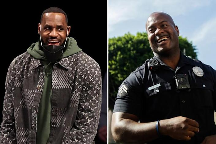Left, LeBron James of the Los Angeles Lakers and right, LAPD officer Deon Joseph photographed in 2018.