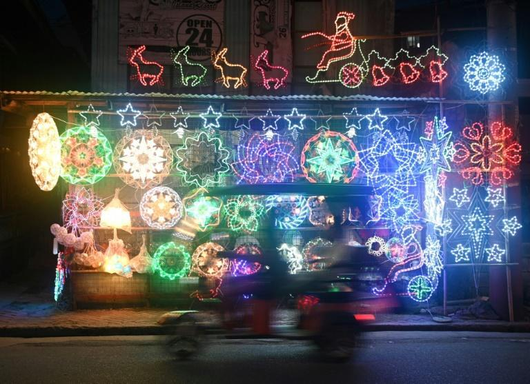 Lanterns and lit ornaments for sale in San Fernando near Manila as the Philippines gears up for Christmas