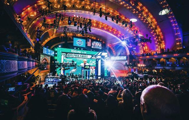 Apr 28, 2016; Chicago, IL, USA; A general view as Carson Wentz (North Dakota State) is selected by the Philadelphia Eagles as the number two overall pick in the first round of the 2016 NFL Draft at Auditorium Theatre. Mandatory Credit: Chuck Anderson-USA TODAY Sports