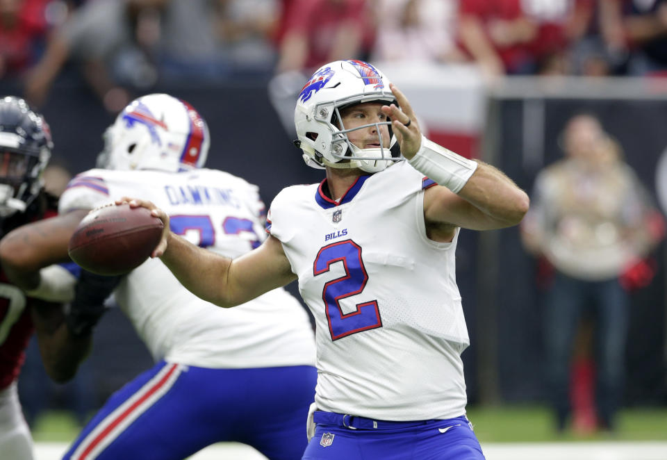 The Oakland Raiders have reportedly signed quarterback Nathan Peterman to its practice squad. (AP)