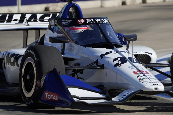 Takuma Sato drives during practice for the IndyCar Detroit Grand Prix auto racing doubleheader on Belle Isle in Detroit, Friday, June 11, 2021. (AP Photo/Paul Sancya)