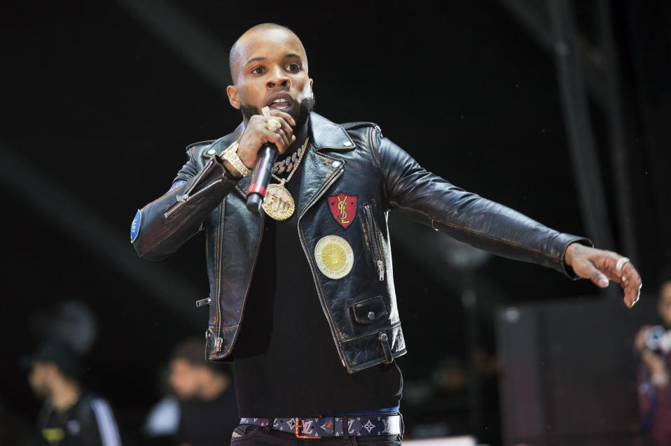FILE - In this Sunday, June 10, 2018, file photo, rapper Tory Lanez performs at HOT 97 Summer Jam 2018 at MetLife Stadium in East Rutherford, N.J. Los Angeles prosecutors have charged Lanez with shooting Megan Thee Stallion during an argument on July 12, 2020. (Photo by Scott Roth/Invision/AP, File)