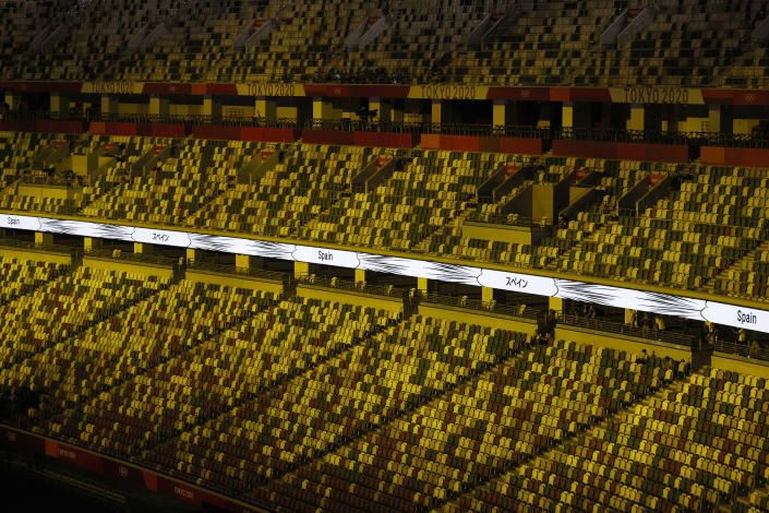 <p>TOKYO, JAPAN - JULY 23: Empty seats in the stands during the Opening Ceremony of the Tokyo 2020 Olympic Games at Olympic Stadium on July 23, 2021 in Tokyo, Japan. (Photo by Ezra Shaw/Getty Images)</p>