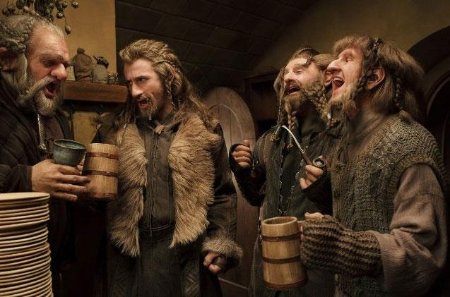 "It's hard out here for a dwarf Central to the story of ""The Hobbit"" films are the company of dwarves who set out to reclaim their ancestral home from a fire-breathing dragon. Led by Thorin Oakenshield, the dwarves Fili, Kili, Oin, Gloin (father of ""Lord of the Rings""' Gimli), Dwalin, Balin, Bifur, Bofur, Bombur, Dori, Nori, and Ori, all differ in appearance, age, and bearing. All the actors playing them required a great deal of time in hair, makeup, and wardrobe to make their dwarvish transformations. As one of the youngest and thus most beardless dwarves, Kili (Aidan Turner) required the shortest time in the makeup chair at only 30 minutes. Bombastic Bombur (Stephen Hunter) on the other hand, required over 105 minutes every day to transform him into the rolly polly dwarf."