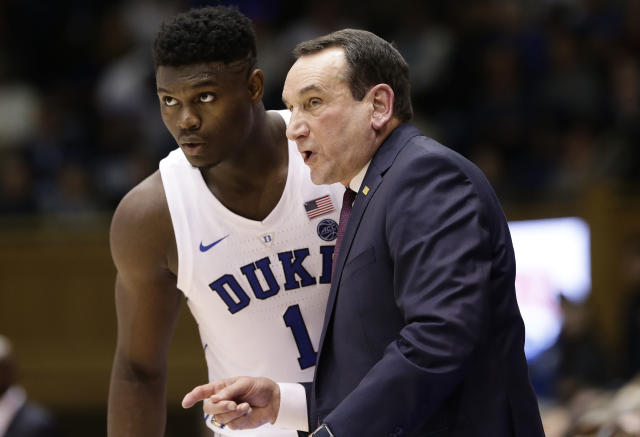 Duke's Zion Williamson and coach Mike Krzyzewski teamed up for one memorable 2018-19 season on Tobacco Road. (AP Photo/Gerry Broome)