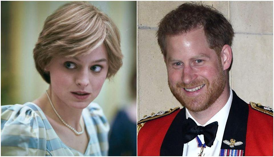Emma Corrin as Princess Diana in The Crown and Prince Harry (Photo: Netflix/Getty)