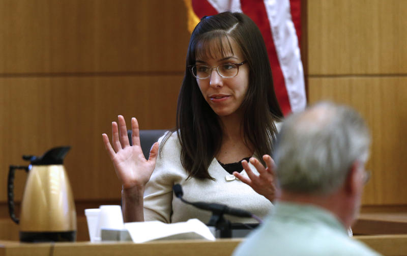 Jodi Arias testifies   Monday, Feb. 11, 2012, in Maricopa County Superior Court in Phoenix, Ariz.   Arias is accused of murdering her lover, Travis Alexander, in his Mesa, Ariz., home in 2008.    (AP Photo/The Arizona Republic,Rob Schumacher)  MARICOPA COUNTY OUT; MAGS OUT; NO SALES