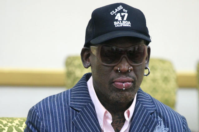 Former NBA basketball star Dennis Rodman was reportedly arrested for a DUI over the weekend. (AP Photo)