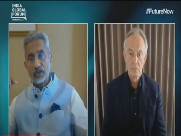 External Affairs Minister S Jaishankar and former UK PM Tony Blair during a discussi
