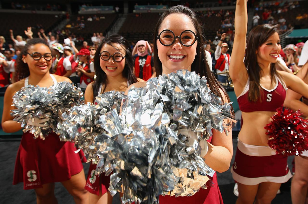DENVER, CO - MARCH 31:  Cheerleaders for the Stanford Cardinals support their team during practice prior to the NCAA Women's Basketball Tournament Final Four at Pepsi Center on March 31, 2012 in Denver, Colorado.  (Photo by Doug Pensinger/Getty Images)