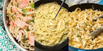 "<p>Nothing can quite compare to a comforting bowl of creamy <a href=""https://www.delish.com/uk/cooking/recipes/g33642767/easy-pasta-recipes/"" rel=""nofollow noopener"" target=""_blank"" data-ylk=""slk:pasta"" class=""link rapid-noclick-resp"">pasta</a>, especially one that's taken no more than 20 minutes to whip up. Whether that's <a href=""https://www.delish.com/uk/cooking/recipes/a32434375/roasted-asparagus-carbonara-recipe/"" rel=""nofollow noopener"" target=""_blank"" data-ylk=""slk:Asparagus Carbonara"" class=""link rapid-noclick-resp"">Asparagus Carbonara</a>, <a href=""https://www.delish.com/uk/cooking/recipes/a30219265/creamy-shrimp-linguine-tomatoes-kale-lemon-zest-recipe/"" rel=""nofollow noopener"" target=""_blank"" data-ylk=""slk:Creamy Prawn Linguine"" class=""link rapid-noclick-resp"">Creamy Prawn Linguine</a> or <a href=""https://www.delish.com/uk/cooking/recipes/a33990117/creamy-roasted-red-pepper-penne-recipe/"" rel=""nofollow noopener"" target=""_blank"" data-ylk=""slk:Roasted Red Pepper Penne"" class=""link rapid-noclick-resp"">Roasted Red Pepper Penne</a>, we're big fans of a creamy, delicious sauce accompanied by some of our favourite veggies, fish and meats. Need some help in the <a href=""https://www.delish.com/uk/cooking/recipes/g33530905/chicken-weeknight-dinners/"" rel=""nofollow noopener"" target=""_blank"" data-ylk=""slk:weeknight dinner"" class=""link rapid-noclick-resp"">weeknight dinner</a> department? We've got more than enough creamy pasta recipes for you to give a go. Bonus: They're beyond easy to make, and just as satisfying to slurp up. </p>"