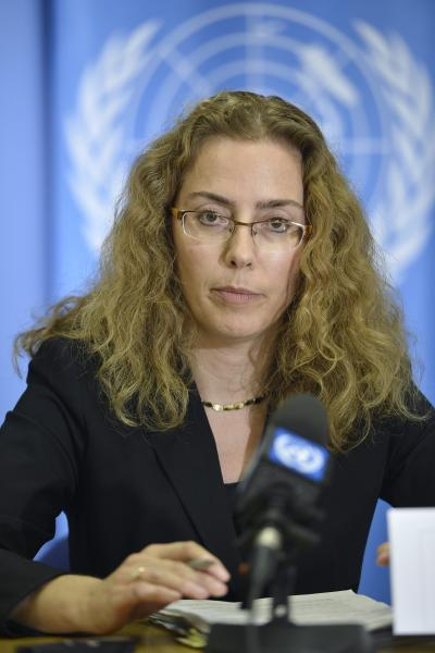 Laura Dupuy Lasserre of Uruguay, President of the Human Rights Council, briefs the media on the conclusion of the 21th regular session of the U.N. Human Rights Council, at the European headquarters of the United Nations in Geneva, Switzerland, Friday, Sept 28, 2012. The U.N.'s top human rights body on Friday extended by six months the mission of its independent expert panel probing alleged war crimes in Syria's 18-month conflict. (AP Photo/Keystone, Martial Trezzini)