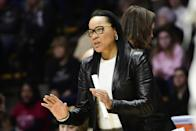 "<p>Dawn Staley, a Hall of Fame WNBA player who now coaches at the University of South Carolina, is outspoken about racial justice. In June, she wrote a searing essay for the <strong>Player's Tribune</strong>, ""Black People Are Tired,"" describing her visceral reaction to the killing of George Floyd and her <a href=""https://www.theplayerstribune.com/en-us/articles/dawn-staley-racial-injustice"" class=""link rapid-noclick-resp"" rel=""nofollow noopener"" target=""_blank"" data-ylk=""slk:own experiences with racism"">own experiences with racism</a>. ""My heart is breaking,"" she wrote. ""We've been down this road before, and we continue to go down this road. I mean, it's 2020, and we still have to see this.""</p> <p>Staley, who also coaches the USA women's basketball team, has <a href=""https://www.postandcourier.com/sports/carolina/sapakoff-dawn-staleys-rip-of-haley-usc-diversity-reflects-hard-road-ahead/article_aedcfab8-c767-11ea-b1a0-9719cbb043c5.html"" class=""link rapid-noclick-resp"" rel=""nofollow noopener"" target=""_blank"" data-ylk=""slk:advocated for diversity"">advocated for diversity</a> in campus and athletic leadership at USC and even taken on politicians on Twitter while defending the Black Lives Matter movement.</p>"