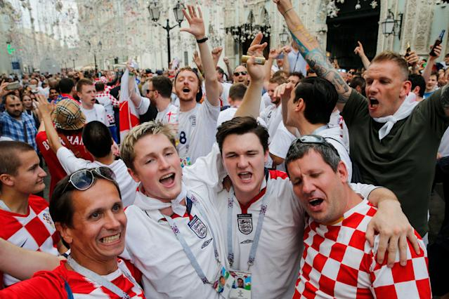England and Croatia fans find common ground.