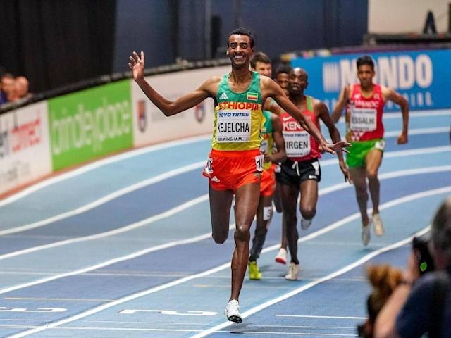 Yomif Kejelcha claimed victory in the men's 3,000m at the Indoor Championships (Getty)