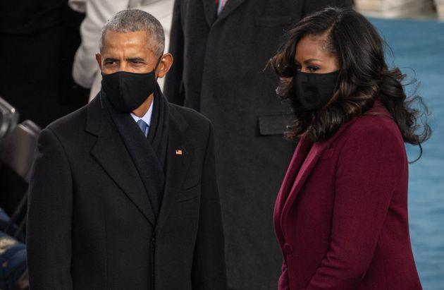 WASHINGTON, DC - JANUARY 20: (L-R)  Former US President Barack Obama and Former US First Lady Michelle Obama arrive to the 59th Presidential Inauguration at the U.S. Capitol on January 20, 2021 in Washington, DC. During today's inauguration ceremony Joe Biden becomes the 46th president of the United States. (Photo by Saul Loeb - Pool/Getty Images) (Photo: Pool via Getty Images)