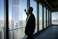 """Architect Kenneth Lewis points at the """"Freedom Tower"""" (AFP/Ed JONES)"""