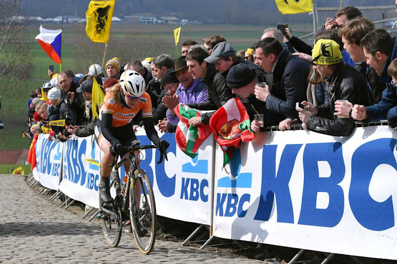 OUDENAARDE, BELGIUM - APRIL 01: Anna Van Der Breggen of The Netherlands and Boels - Dolmans Cycling Team / Public / Paterberg / during the 15th Tour of Flanders 2018 - Ronde Van Vlaanderen a 150,9km women's race from Oudenaarde to Oudenaarde on April 1, 2018 in Oudenaarde, Belgium. (Photo by Luc Claessen/Getty Images)