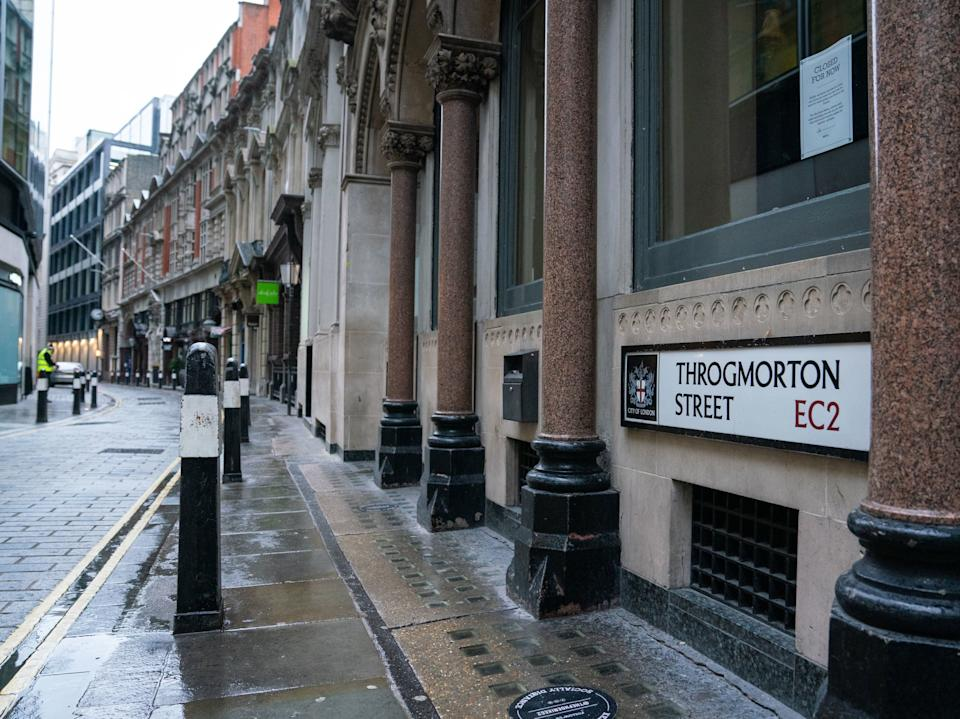 A view of Throgmorton Street in the City financial district of London, where the city's first ever cannabis factory has been discovered close to the Bank of EnglandCity of London Police/PA