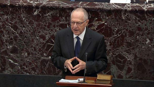 PHOTO: Alan Dershowitz speaks on the Senate floor during the impeachment trial of President Donald Trump, Jan. 27, 2020, in Washington, DC. (ABC News)