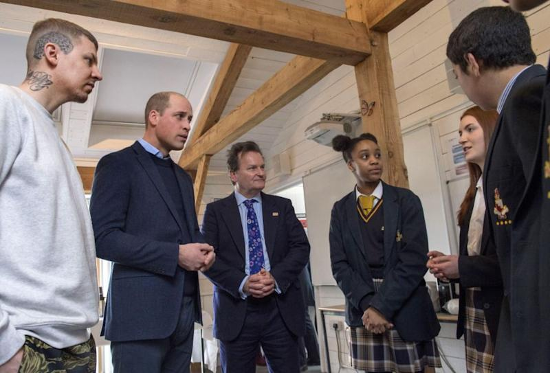 The Prince speaks to students about body image and mental health. Photo: Getty