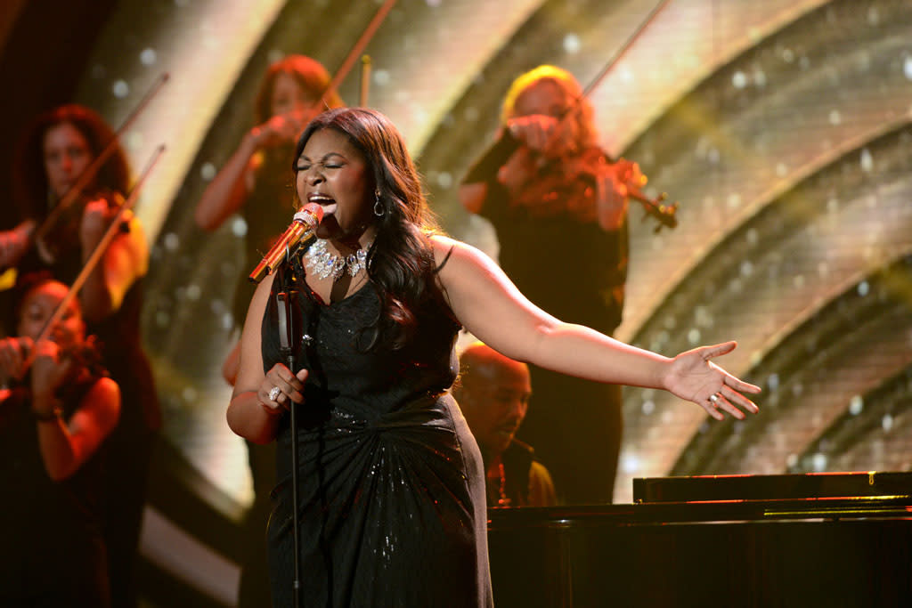 "Candice Glover performs ""Somewhere"" on the Wednesday, May 8 episode of ""American Idol."""