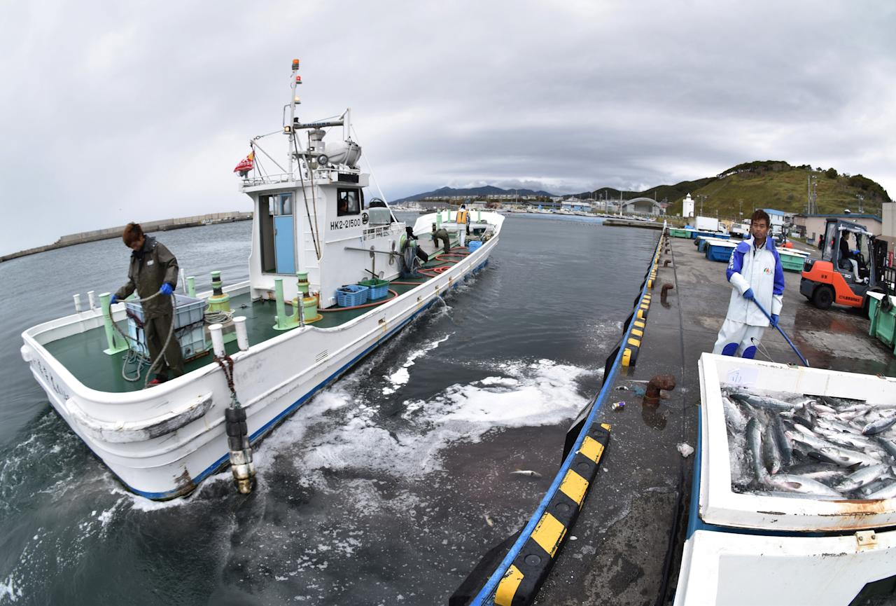 Fishermen work at a port in Erimo Town, on Japan's northern island of Hokkaido, October 12, 2017. Picture taken October 12, 2017.   Picture taken with a fisheye lens. REUTERS/Malcolm Foster