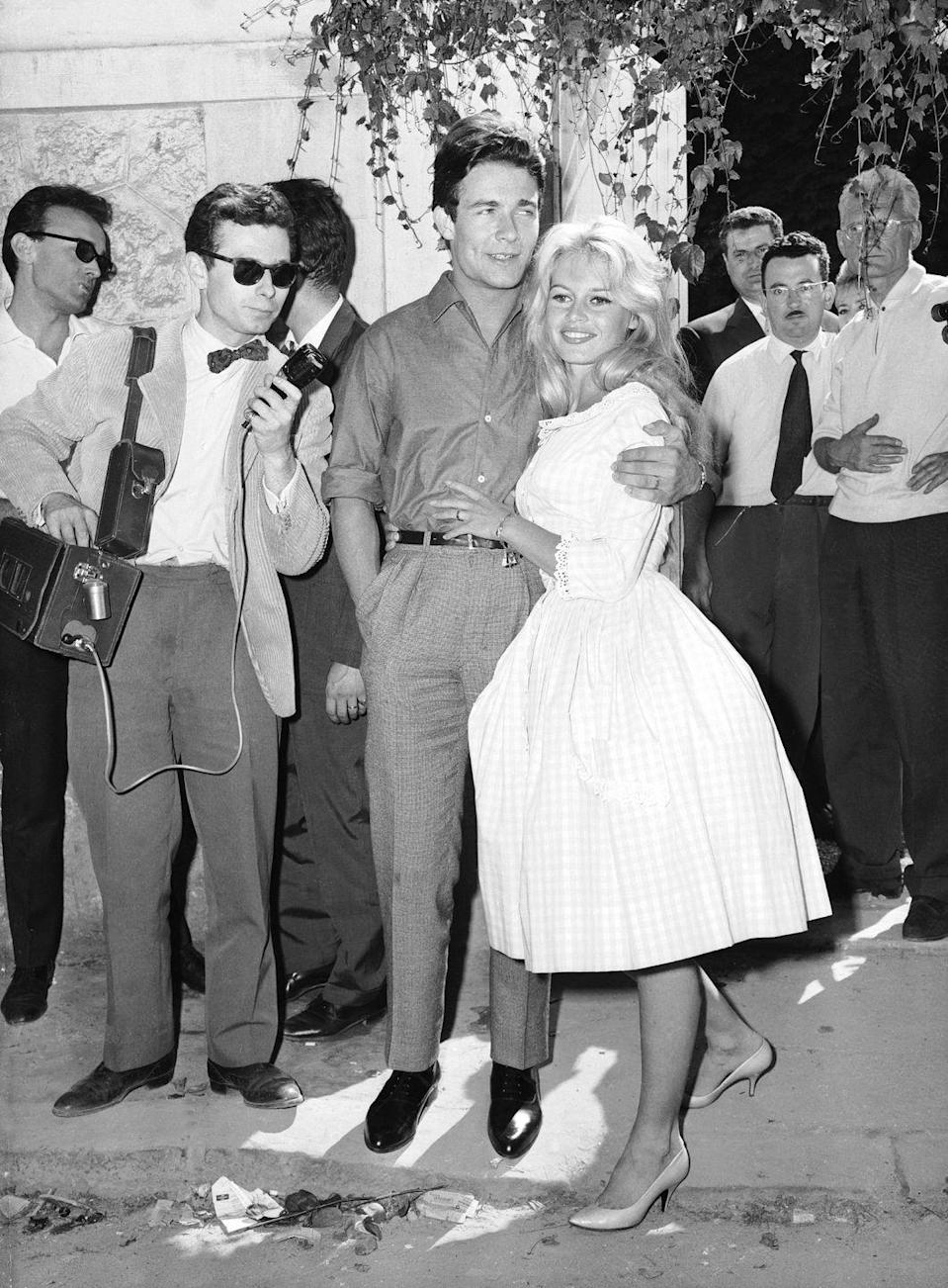<p>For her second marriage, Brigitte Bardot skipped the wedding gown and big church ceremony. Instead, the actress wore a pink gingham dress for her civil ceremony at city hall with French actor Jacques Charrier in Louveciennes, France. </p>