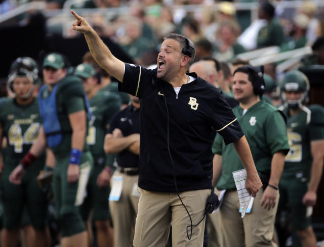 Baylor head coach Matt Rhuledidn't have many answers after his team's loss to Liberty in his debut. (AP)