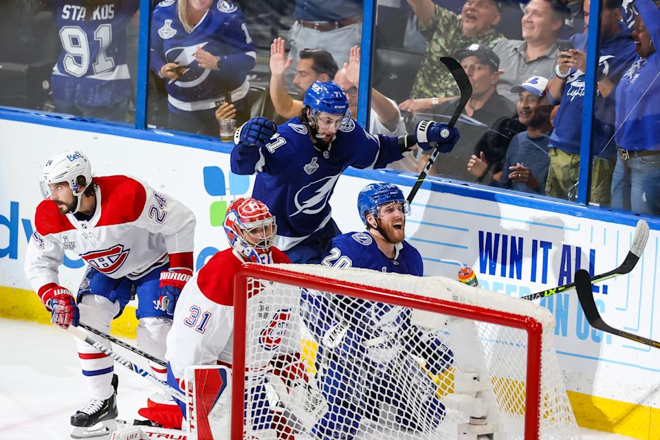 TAMPA, FL - JUNE 30: Blake Coleman #20 of the Tampa Bay Lightning celebrates his goal with teammates against the Montreal Canadiens during the second period of Game Two of the Stanley Cup Final of the 2021 Stanley Cup Playoffs at Amalie Arena on June 30, 2021 in Tampa, Florida. (Photo by Mark LoMoglio/NHLI via Getty Images)
