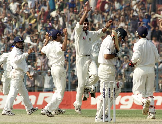 Harbhajan Singh of India celebrates with team mates after taking the wicket of Ricky Ponting of Australia, during day five of the 2nd Test between India and Australia played at Eden Gardens, Calcutta, India. X DIGITAL IMAGE  Mandatory Credit: Hamish Blair/ALLSPORT