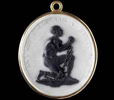 English potter and abolitionist Josiah Wedgwood created this medallion of an enslaved Black man kneeling, bearing the inscription 'Am I Not a Man and a Brother' (Medallion)
