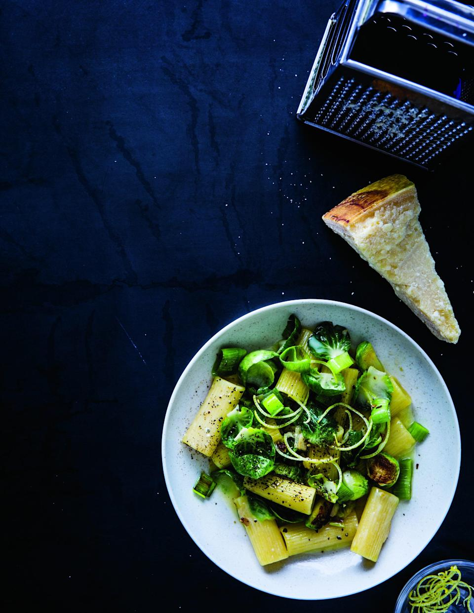 """The addition of leeks and white wine to this rigatoni makes it creamy, buttery, and bright. <a href=""""https://www.epicurious.com/recipes/food/views/rigatoni-with-brussels-sprouts-parmesan-lemon-and-leek?mbid=synd_yahoo_rss"""" rel=""""nofollow noopener"""" target=""""_blank"""" data-ylk=""""slk:See recipe."""" class=""""link rapid-noclick-resp"""">See recipe.</a>"""