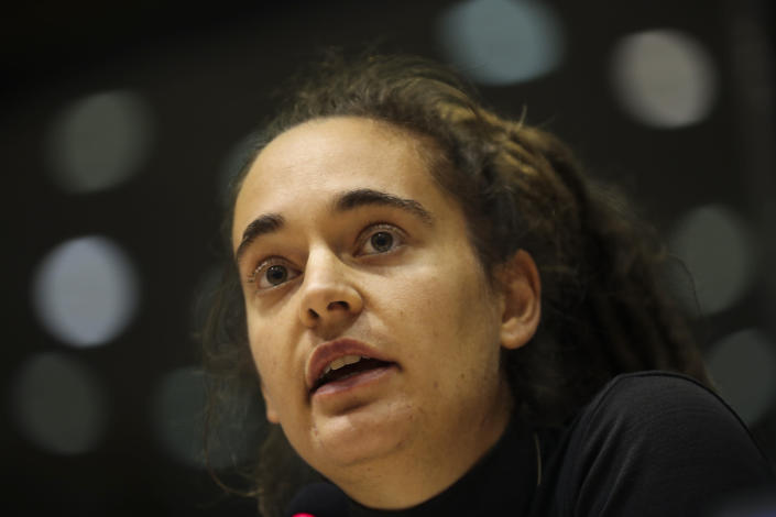 German boat captain Carola Rackete talks during a Civil Liberties and Justice Committee at the European Parliament in Brussels, Thursday, Oct. 3, 2019. (AP Photo/Francisco Seco)