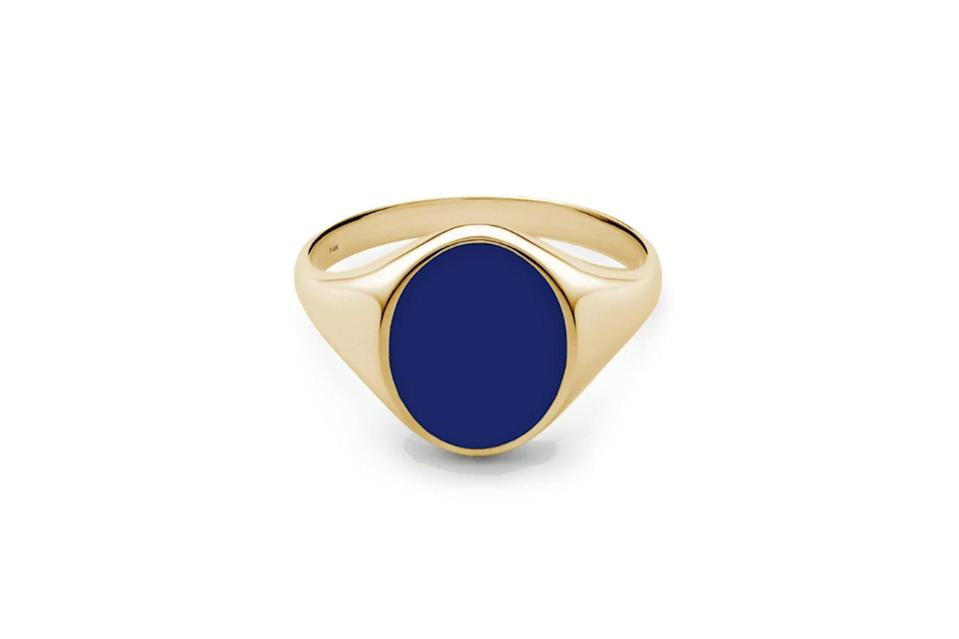 "$165, Miansai. <a href=""https://www.miansai.com/collections/men-rings/products/heritage-ring-gold-vermeil-wenamel-polished?variant=29578551885939"" rel=""nofollow noopener"" target=""_blank"" data-ylk=""slk:Get it now!"" class=""link rapid-noclick-resp"">Get it now!</a>"