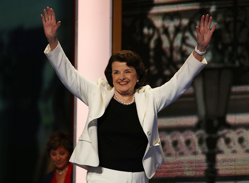 """<a href=""""http://www.senate.gov/artandhistory/history/common/briefing/women_senators.htm""""><strong>Served from:</strong></a> 1992-present Sen. Dianne Feinstein (D-Calif.) takes the stage during day two of the Democratic National Convention on September 5, 2012 in Charlotte, N.C. (Photo by Chip Somodevilla/Getty Images)"""