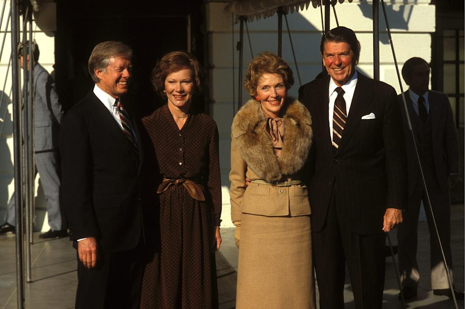 UNITED STATES - NOVEMBER 20:  Jimmy and Rosalyn Carter, Nancy and Ronald Reagan in Washington, United States on November 20th , 1980.  (Photo by Francois LOCHON/Gamma-Rapho via Getty Images)