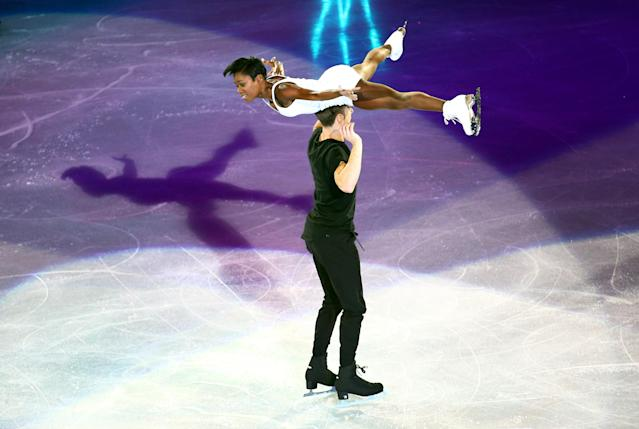 Figure Skating - World Figure Skating Championships - The Mediolanum Forum, Milan, Italy - March 25, 2018 France's Vanessa James and Morgan Cipres during the gala REUTERS/Alessandro Bianchi