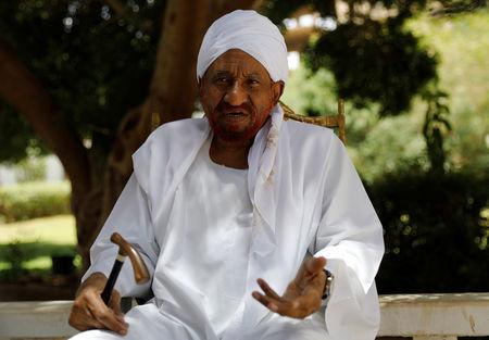 Leading Sudanese opposition figure Sadiq al-Mahdi, Sudan's last democratically elected prime minister, who was overthrown in 1989 in a bloodless coup by army officer Omar Hassan al-Bashir, talks during an interview with Reuters in Khartoum, Sudan, April 25, 2019. REUTERS/Umit Bektas