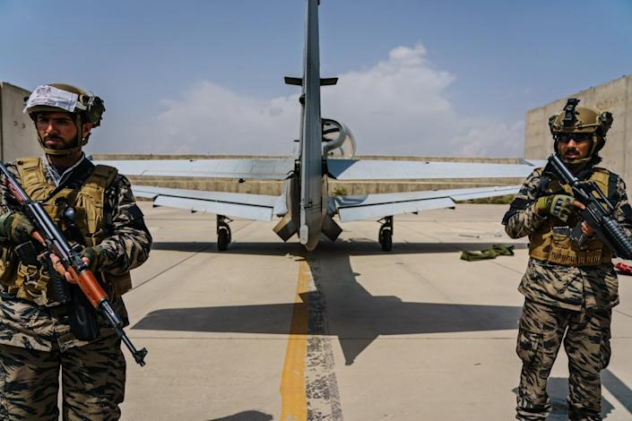 Taliban fighters secured Kabul's airport on Tuesday after the U.S. military withdrawal from Afghanistan.