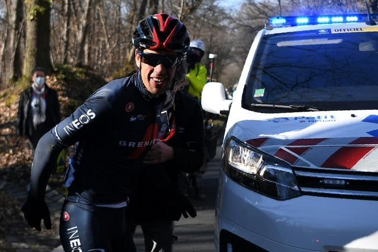 Richie Porte fell due to a stray water bottle