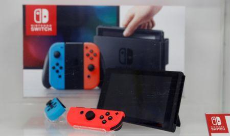 Nintendo Switch game console is displayed at an electronics store in Tokyo