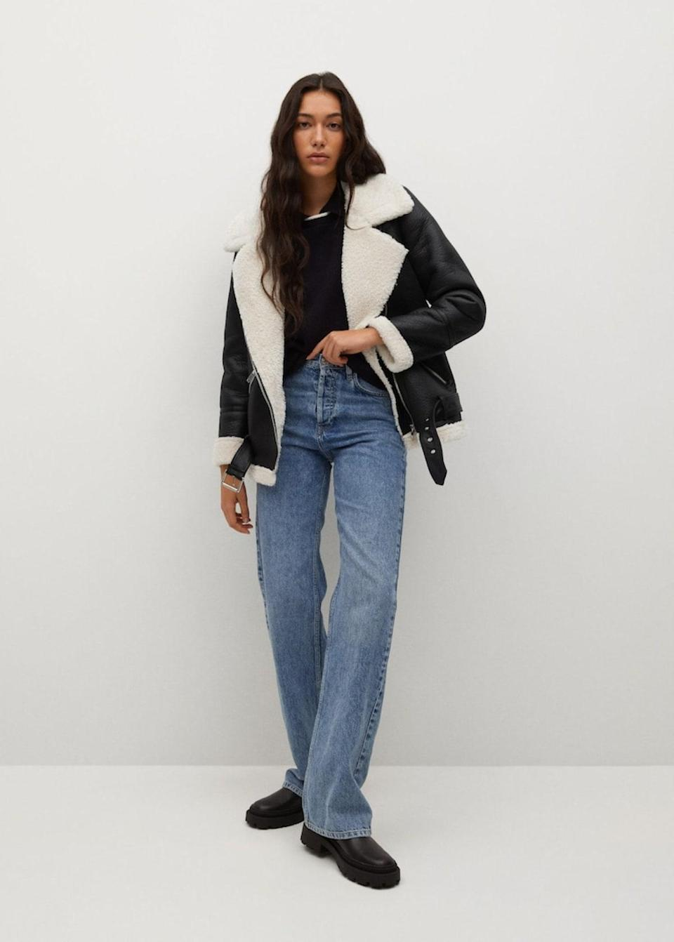 """No need to go for a classic teddy bear coat if you don't want to. This aviator iteration is a low-key entrance into teddy-bear territory—and we love it styled with jeans and <a href=""""https://www.glamour.com/story/best-fall-shoes?mbid=synd_yahoo_rss"""" rel=""""nofollow noopener"""" target=""""_blank"""" data-ylk=""""slk:lug-sole Chelsea boots"""" class=""""link rapid-noclick-resp"""">lug-sole Chelsea boots</a>. $150, Mango. <a href=""""https://shop.mango.com/us/women/coats-coats/faux-shearling-oversized-coat_17074038.html"""" rel=""""nofollow noopener"""" target=""""_blank"""" data-ylk=""""slk:Get it now!"""" class=""""link rapid-noclick-resp"""">Get it now!</a>"""