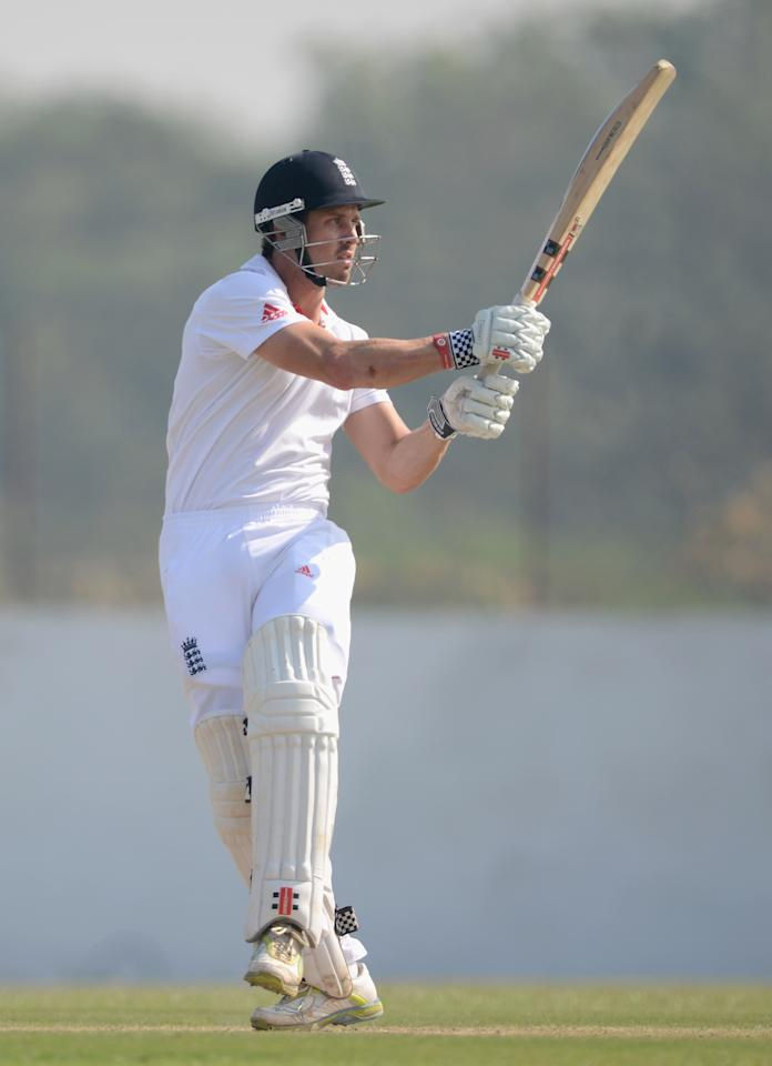 AHMEDABAD, INDIA - NOVEMBER 11:  Nick Compton of England bats during day four of the tour match between England and Haryana at Sardar Patel Stadium ground B on November 11, 2012 in Ahmedabad, India.  (Photo by Gareth Copley/Getty Images)