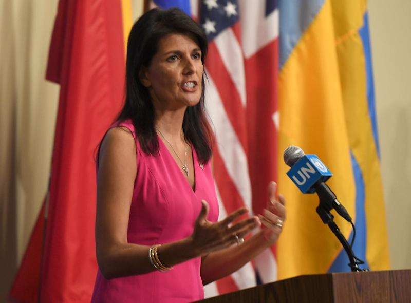 US Ambassador to the UN Nikki Haley singled out UNIFIL's Irish leader, Major General Michael Beary, in her criticism of the force (AFP Photo/Don Emmert)