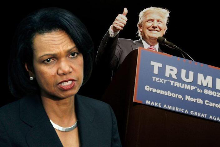 Condoleezza Rice, Donald Trump. (Photo Illustration: Yahoo News, photos: AP, Jonathan Drake/Reuters)