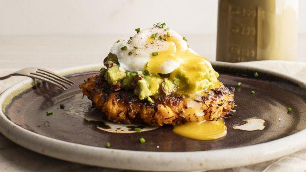 PHOTO: Sweet potato cakes with spicy avocado and poached eggs by Thumbtack chef Niko Paranomos. (Thumbtack)