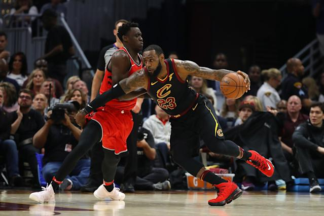 "<a class=""link rapid-noclick-resp"" href=""/nba/players/3704/"" data-ylk=""slk:LeBron James"">LeBron James</a> remained in firm command of the Cavaliers-Raptors series in a Game 3 win. (Getty Images)"
