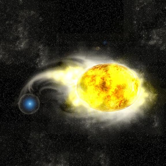 This artist's conception shows what scientists believe to be the progenitor system of the supernova SN 2011dh, which exploded in the Whirlpool galaxy in May 2011. The system consists of a blue star and a yellow supergiant.